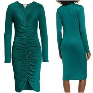 Leith Green Rutched Front Dress